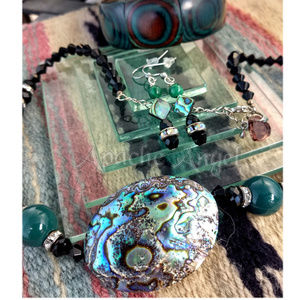 Abalone Vintage Bead Necklace, Earrings, Bracelet